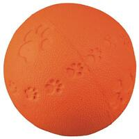 Trixie Squeaky Ball Dog Fetch Toy, Paw Print, Rubber & Bouncy - Assorted Colours