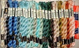 DMC Cotton Pearl Coton Perle #5 Lot of 29 Blues, Greys, Beige, Green, Coral MZC