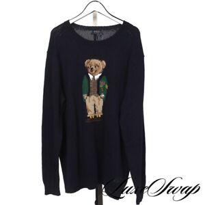 NWT #1 MENSWEAR Polo Ralph Lauren Navy Blue College Bear Crewneck Sweater 2XLT