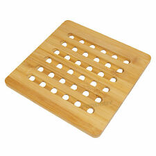 Square Bamboo Wood Trivet Kitchen Worktop Surface Protector Kettle Stand Hot Pan