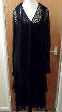 1920s Art Deco Vintage Negro Encaje Vestido Talla 10 pequeña aleta