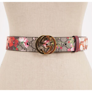 sz 28 NEW GUCCI LIMITED Pink Floral BLOOMS PRINT Supreme Canvas GG BUCKLE BELT