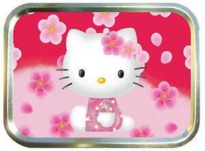 Hello Kitty Flowers  2oz Gold Tobacco Tin , Ladies Pill Box, Storage box ,