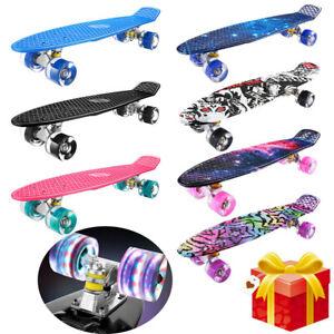"""22"""" Skateboard Adult & Kids Skateboard Beginners Double Kick Maple Fun Kid gifts"""