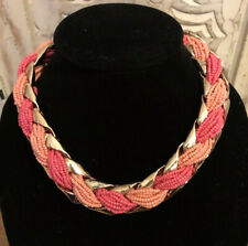 Slight Crackle Gold Tone with Pink Beads Choker Fashion Necklace N-18