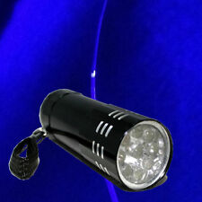 Black Mini Aluminum UV ULTRA VIOLET 9 LED FLASHLIGHT Torch Light Lamp  PC