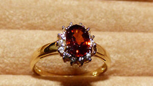 Tanzanian Orange Zircon Gold Ring - rare stone