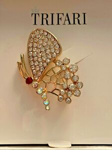Trifari Gold Pin Brooch Butterfly with Accents Crystals Pin Brooch New w/Box