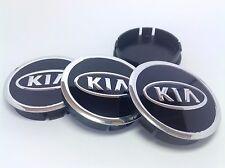 KIA 4pcs Plastic Wheel Centre Caps with Alu Emblem 60mm/55mm NEW