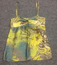 THEORY FOR BERGDORF GOODMAN Green Floral Silk Linen Belted Tank Sz P FF2167