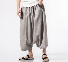 Ethnic Style Men Loose Drop-crotch Pants Casual Harem Trousers Large Size Summer