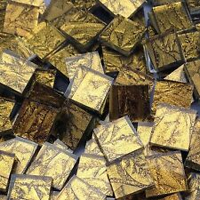 """180 Van Gogh Stained Glass Mosaic Tiles Gold Sparkle 3/8"""""""