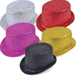 Adults Glitter Top Hat Fancy Dress Party Prop Ringmaster Clown Fancy Dress