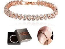 Bridal Ladies High Quality Zirconia Crystal Gold Plated Bracelet Gift 17.5cm