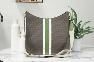 Michael Kors Briley Large Evergreen Signature Stripe Messenger Crossbody Handbag