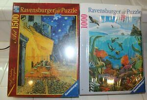 Lot of 2 Ravensburger Puzzles 1500 1000 Sea World & Cafe Terrace at Night (NIB)