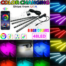 4in1 48LED RGB Car Interior Atmosphere LightS Strip Bluetooth APP Music Control