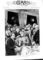 Old Antique Print 1891 Fireworks Crystal Palace Dining Room Rejchan Art 19th