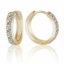 Brilliant Jewelry 14k Gold Filled Womens Sapphire Crystal Fashion Hoop Earrings