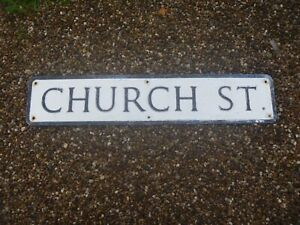 "20th Century Metal Street Sign...""CHURCH ST""...iDEAL:Man Cave,Display,Prop!!"