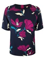 New Ex Per Una M&S Ladies Navy & Pink Floral Short Sleeve Summer Top Size 10- 22