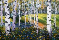 Art original  oil painting  Birch trees forest woods birches autumn