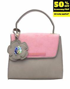 NAJ-OLEARI Satchel Bag PU Leather Suede Effect Flap Top Handle Magnetic Flap