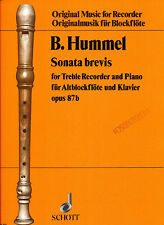 Berthold Hummel - Sonata brevis für Altblockflöte und Klavier opus 87b