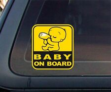 BABY ON BOARD Yellow Graphic Car Sticker / Decal