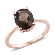 Brazilian Smoky Quartz 14K RG Over Sterling Silver Solitaire Ring (Size 10.0)