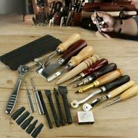 18PC Vintage Leather Craft Tools Kit Stitching Sewing Working Punch Tool K3J9
