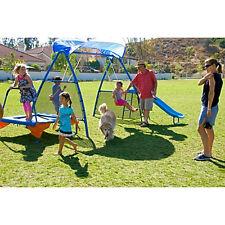 Outdoor Kids Playset Swing Trampoline Slide Fun Toy Children Gym Jumper Garden