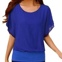 Women's Loose Casual Short Sleeve Batwing Sleeve Chiffon Top T-Shirt Blouse