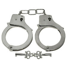CLASSIC SOLID CHROME METAL SILVER HAND CUFFS HANDCUFFS POLICE SECURITY PATROL