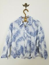 Amour Vert Zia Button Front Shirt Blue Feathers Print Boxy Fit Womens Size Small