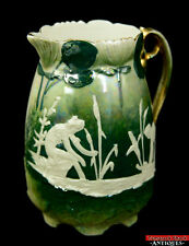 ANT Iridescent Cameo Green Gold Lustre Pictoral Porcelain Creamer Pitcher L6Y