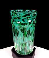 """STUDIO ART GLASS ARTIST SIGNED GREEN & TURQUOISE MOTTLED RIBBED 5 7/8"""" VASE"""