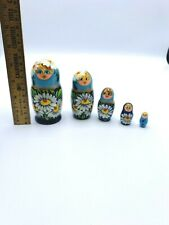 Wooden German Russian Stackable Nesting Dolls 5 Set
