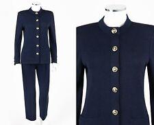 ST JOHN Collection Navy Blue Santana Knit Button Sweater Jacket Pant Suit Set P