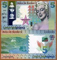 Kamberra, Kingdom, 5 Numismas, 2015, UNC > Marilyn Monroe > New Date