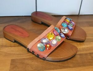 Russell Bromley brown tan slider size 4 jewelled flip flop clog wooden leather