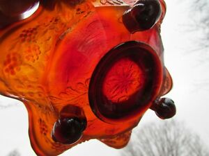 Fenton PANTHER ANTIQUE CARNIVAL ART GLASS FTD RUFFLED SAUCE~RED~RARE COLOR!!!