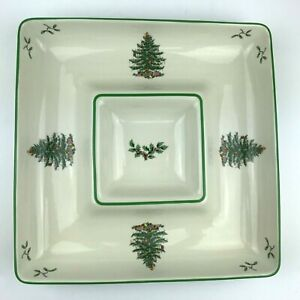 Spode Christmas Tree Square Chip and Dip Serving Tray All In One Bowl Plate