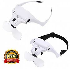 Headband Mount Magnifier LED Illuminated Head Magnifying Glass Jeweler's Loupe