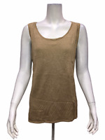 H by Halston Women's Metallic Tank with Pointelle Detail Latte Large Size