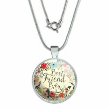 """Best Friend Ever Floral 1"""" Pendant with Sterling Silver Plated Chain"""