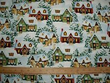 Cotton Fabric Christmas Winter Cottages by Susan Wheeler Snow BTY