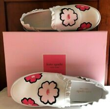 Authentic Kate Spade Leather Lima Slip on Floral Lips Shoes Sz 7.5M MSRP 168