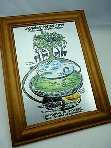 Yggdrasil World Tree Map -Wall Art Print on Silver Brushed Metal with Wood Frame