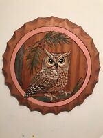 Wood  Burnt Hand Painted Owl Wall Round Plaque Beautifully Detailed Wood Grain